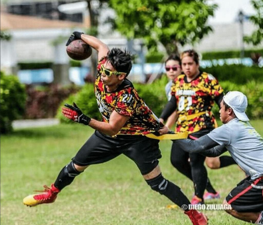 Luke Jickain flag football game