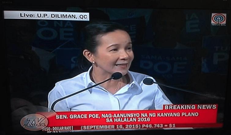 FPJ Sen. Grace Poe Running for Presidency running for President 2016 Elections