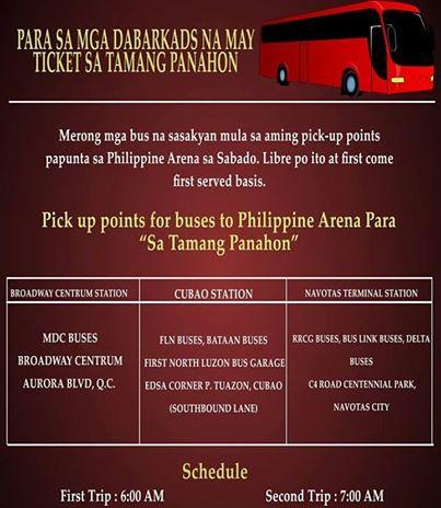 Tamang Panahon Philippine Arena Bus Schedule Kalyeserye AlDub Alden Richards Yaya Dub Maine Mendzoa Eat Bulaga