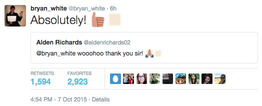 Bryan White Aldub Alden Richards God Gave Me You december concert Bryan White Tweets Alden 2