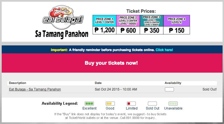Tamang Panahon Eat Bulaga AlDub Tickets Sold Out