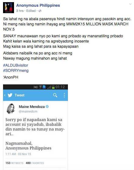 ALDub AlDub Nation Maine Mendoza Yaya Dub Twitter account Hacked Anonymous Philippines 3 copy