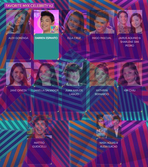 2016 Myx Music Awards Winners Favorite Celebrity MYX VJ Darren Espanto