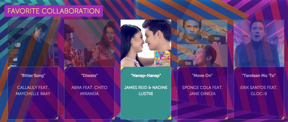 2016 Myx Music Awards Winners Favorite Collaboration James reid Nadine Lustre Jadine Hanap-hanap
