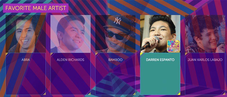 2016 Myx Music Awards Winners Favorite Male Artist Darren Espanto