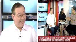 Teddy Locsin Jr. Explanation Clarifies Clarification Tweets Comments Tagalog Presidential Debate English Pilipinas Debates 2016