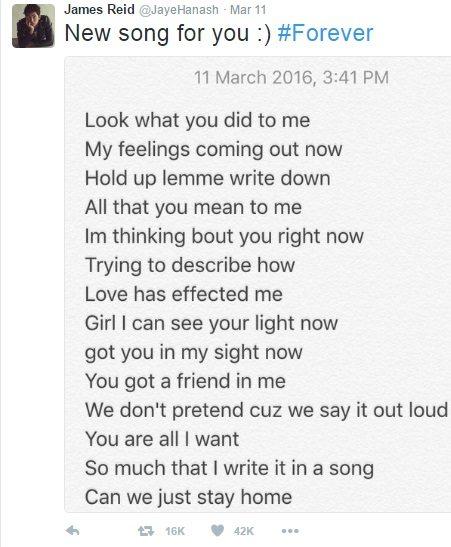 james reid compose new song for girlfriend nadine lustre called Forever