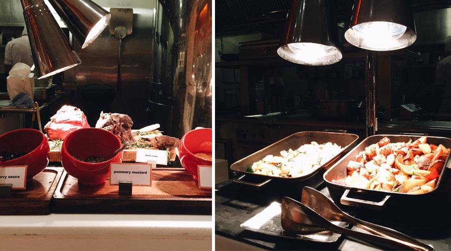 Line Shangri-La Singapore Buffet - meat rib eye steak and vegetable section