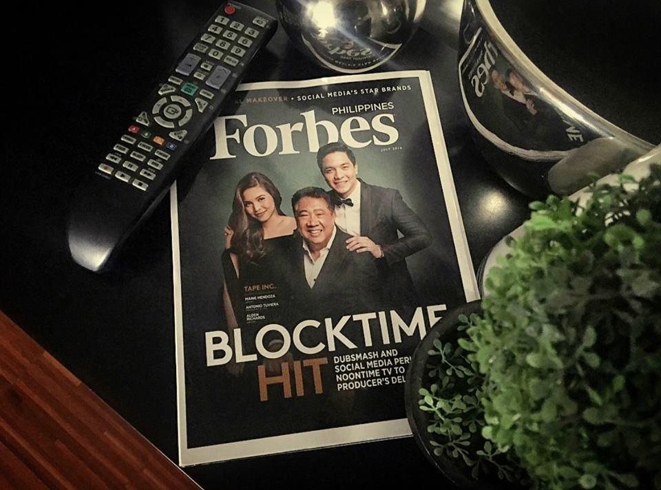 2 Alden Richards Maine Mendoza Antonio Tuviera Tony Tuviera Mr. T T.A.P.E. Incorporated Forbes Philippines magazine cover AlDub Eat Bulaga phenomenon