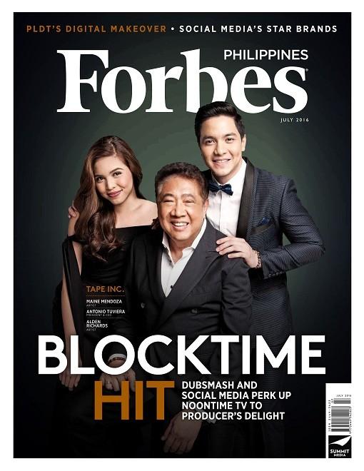 3 Alden Richards Maine Mendoza Antonio Tuviera Tony Tuviera Mr. T T.A.P.E. Incorporated Forbes Philippines magazine cover AlDub Eat Bulaga phenomenon